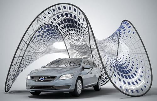 سایبان خودرو Volvo و شارژ اتومبیل با انرژی خورشید