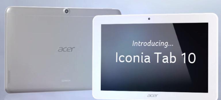ایسر تبلت Iconia Tab 10 را معرفی کرد